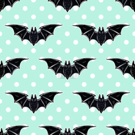 Seamless cute background with bats.
