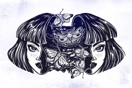 Illustration for Portriat of the surreal human girl with a head open and full of goo and night moth butterflies. Creepy sci-fi, tattoo art. Isolated vector illustration. Trendy T-shirt print. Halloween, weird sticker. - Royalty Free Image