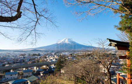 View of Mount Fuji in December from Chureito temple gate.