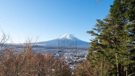 Mount Fuji scenic from staircase to Chureito temple.