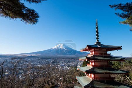 Chureito pagoda and Mount Fuji view point in winter.