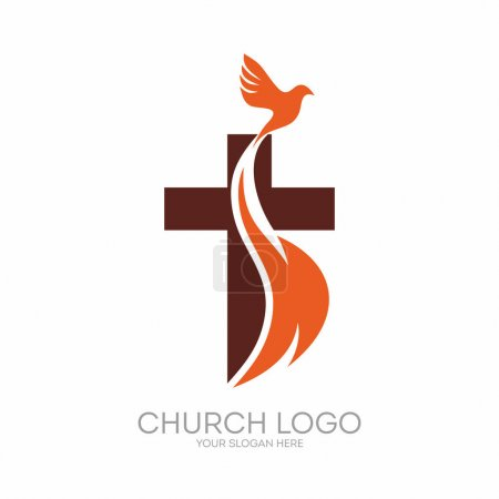 Photo for Church logo. Christian symbols. The Cross of Jesus, the fire of the Holy Spirit and the dove. - Royalty Free Image