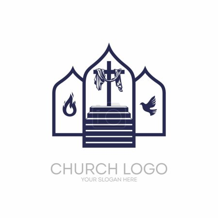 Church logo. Christian symbols. Stairway to the cross of Jesus Christ, the Holy Spirit as a dove and flames.
