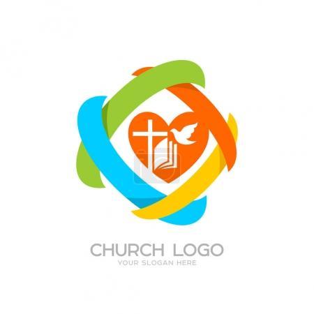 Church logo. Cristian symbols. Jesus cross, bible, dove, heart and colored elements