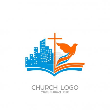 Church logo. Christian symbols. The open bible, the cross of Jesus, the city and the dove