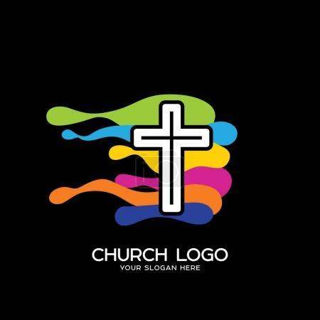 Photo pour Logo de l'église. Des symboles chrétiens. La croix de Jésus et les vagues colorées - image libre de droit