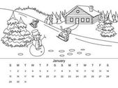 Calendar with coloring book vector illustration