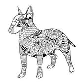 Bullterrier dog coloring book vector illustration