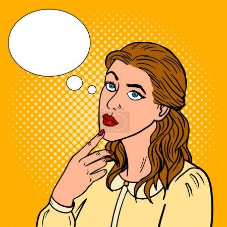 Illustration pour Fille pensée pop art illustration vectorielle rétro. imitation de style BD . - image libre de droit