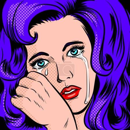 Illustration pour Triste fille pleurant pop art rétro illustration raster. imitation de style BD . - image libre de droit