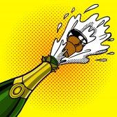 Cork flies out of a bottle of champagne pop art