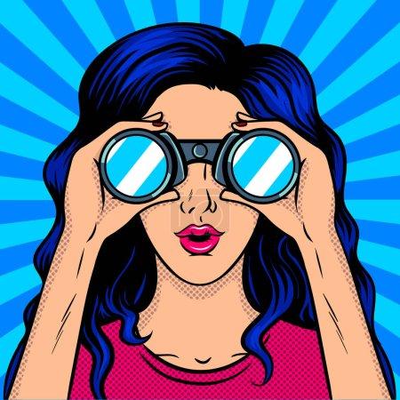 Illustration pour Femme regarde à travers l'illustration vectorielle rétro pop art binoculaire. imitation de style BD . - image libre de droit