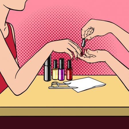 Illustration pour Femme faisant manucure pop art illustration vectorielle rétro. imitation de style BD . - image libre de droit