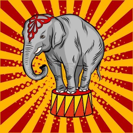Illustration pour Éléphant de cirque sur socle pop art illustration vectorielle rétro. imitation de style BD . - image libre de droit