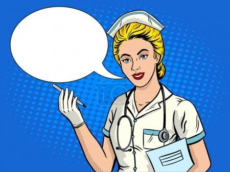Illustration pour Infirmière pop art illustration vectorielle rétro. imitation de style BD . - image libre de droit