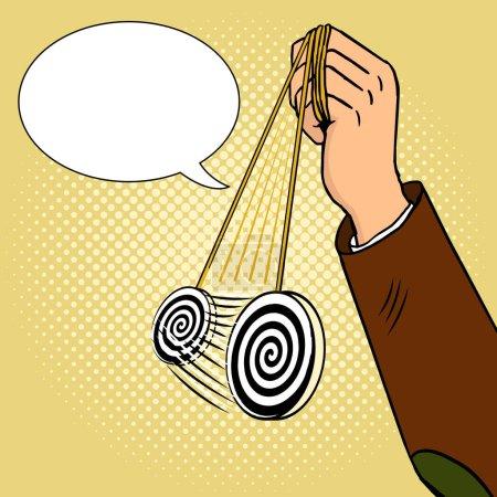 Illustration pour Main d'hypnotiseur avec illustration vectorielle de style pop art pendule. imitation de style BD . - image libre de droit