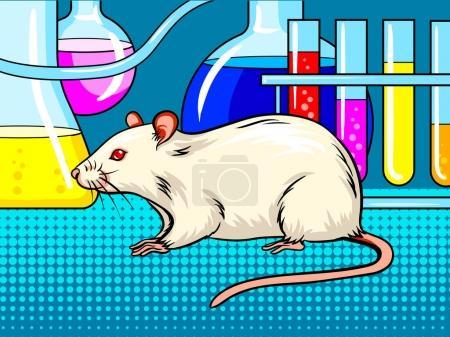 Illustration pour Souris de laboratoire pop art illustration vectorielle rétro. imitation de style BD . - image libre de droit