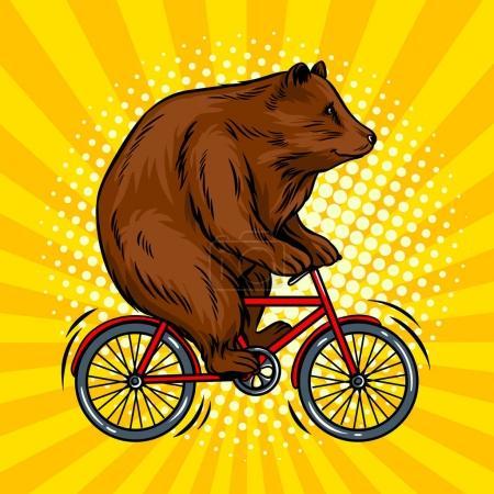 Illustration pour Ours de cirque sur vélo pop art illustration vectorielle rétro. imitation de style BD . - image libre de droit