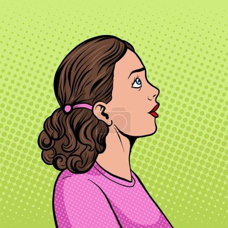 Illustration pour Surprise femme pop art illustration vectorielle rétro. imitation de style BD . - image libre de droit
