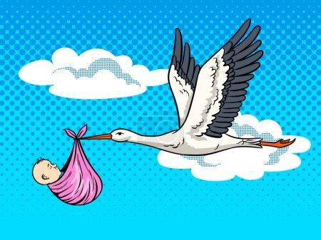 Illustration pour Stork bird apporte bébé pop art illustration vectorielle rétro. Métaphore de naissance. imitation de style BD . - image libre de droit