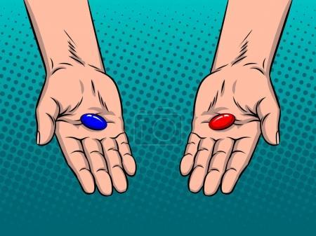 Illustration pour Mains avec des pilules rouges et bleues illustration vectorielle rétro pop art. Métaphore du choix. imitation de style BD . - image libre de droit