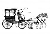 Carriage with horses vector illustration Scratch board style imitation Hand drawn image