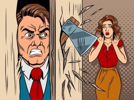 Illustration pour Homme briser la porte par la hache bande dessinée pop art rétro style vectoriel illustration. Scène du film. Maniaque et victime. Violence familiale - image libre de droit