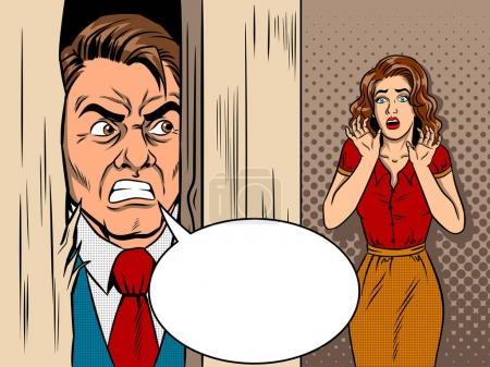 Illustration pour Vendeur cassant la porte bande dessinée pop art illustration vectorielle de style rétro. Scène du film. Une promotion furieuse. Violence familiale . - image libre de droit