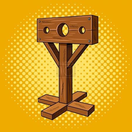 Illustration pour Stocks instrument médiéval de torture style pop art. Pilier punitif. Illustration vectorielle de bande dessinée dessinée à la main - image libre de droit