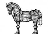 Trojan horse engraving vector illustration