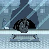 Bank robbery with gun pop art retro vector illustration Crime scene Comic book style imitation
