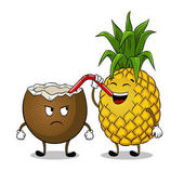 Pineapple drink coconut pop art vector
