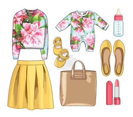 Photo for Lady fashion set. Illustration stylish, trendy clothing. Family Look. Mother with baby. Skirt, sweatshirt, bag, accessories, overalls, newborns, a bottle of milk, a nipple, booties. - Royalty Free Image