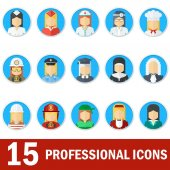 Icons female professions Business man industry and services law-enforcement and judge chef and fireman Templates without emotion for infographic sites banners social media Flat vector icons