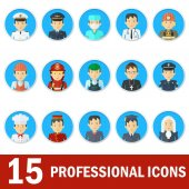 Icons male professions Business man industry and services law-enforcement and judge Templates with friendly happy faces for infographic sites banners social networks Flat vector icons