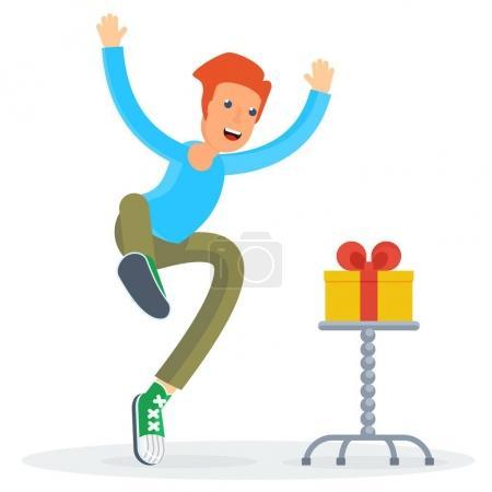 Illustration pour L'homme joyeux a vu le cadeau, a sauté heureux et heureux. Illustration de dessin animé vectoriel plat. Objets isolés sur fond blanc . - image libre de droit