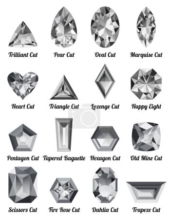 Set of realistic white diamonds with complex cuts