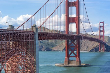 View of the Golden Gate Bridge from above Fort Point looking towards Marin Headlands. San Francisco, California, USA.