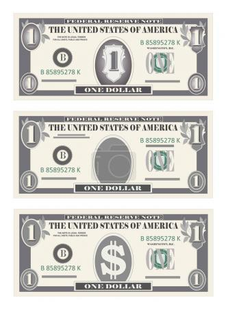Illustration pour Tirelire, billets en papier un dollar en couleur grise. Vecteur dans un style simple et plat en trois variantes. Isolé sur fond blanc. Monnaie bancaire américaine, symbole de trésorerie 1 billet d'un dollar. Emplacement vertical . - image libre de droit