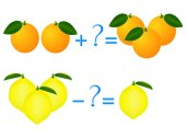 Action relationship of addition and subtraction examples with lemons and oranges