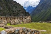 The ruins of Willkaraqay and the surrounding mountains in the Sacred Valley area, along the Inca Trail to Machu Picchu