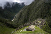 The Inca ruins of Winay Wayna and the surrounding valley, along the Inca Trail to Machu Picchu in Peru