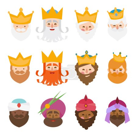 Three kings of orient isolated. 12 icons vector se...