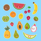 set of cartoon characters of fruits