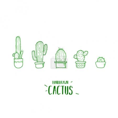 Photo for Cute cartoon cactus. Cacti in pots. - Royalty Free Image