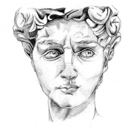 A sketch of the plaster head of Antinous