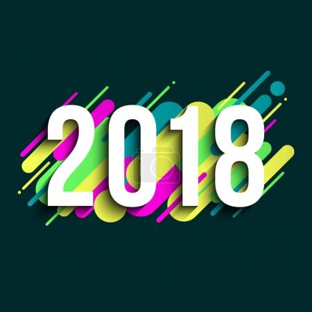 2018 sign with colorful space elements, banner template