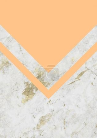 abstract background with marble texture and orange geometric triangular elements