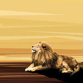 Lion on sun low poly design