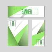 Set of banners with polygonal triangular background elements Vector illustration